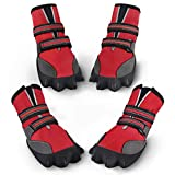 petacc Dog Boots Waterproof Dog Shoes for Large Dogs Pet Boots Lovely Paw Shape Outdoor Shoes with Adjustable Reflective Velcro and Rugged Anti-Slip Sole, 4Pcs (6, Red)
