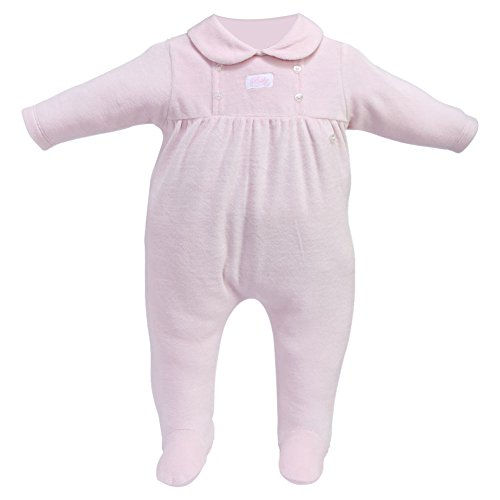 - Cream Bebe Velour Gathered Button Design Infant Baby Footie One-piece Footed Romper (0-3 Months, Pink)