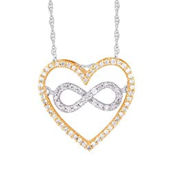 Round Cut Diamond Heart Shaped Infinity Pendant