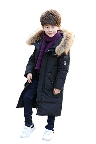 Cappuccio Boy cappuccio in Down Coat Boy Jacket Ahatech per caldo con pelliccia bambino Black invernale fIqUpx