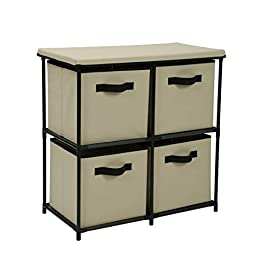 Homebi 4-Drawer Storage Chest Shelf Unit Storage C...