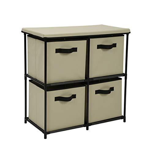 Homebi Drawers Storage Shelf Chest Unit Storage Cabinet Closet Organizer Rack Dresser Storage Towel with Non-Woven Fabric Bins (Beige 4-Drawer) (Drawer Storage Unit)