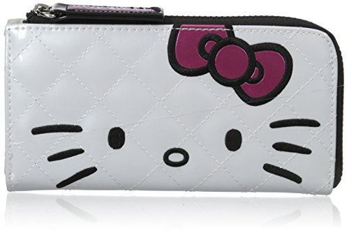 Hello Kitty Pink Bow White Half Zip Wallet, Multi, One Size
