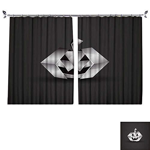 DragonBuildingMaterials Blackout Curtains Room Darkening Thermal Insulated W55 x L63(140cm x 160cm) Chrome Origami Halloween Pumpkin