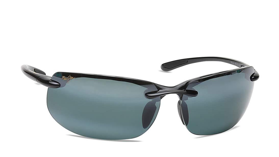 Maui Jim menswomen's Banyans 412-02   Polarized Gloss Black Rimless Frame Sunglasses, Grey, with with Patented PolarizedPlus2 Lens Technology