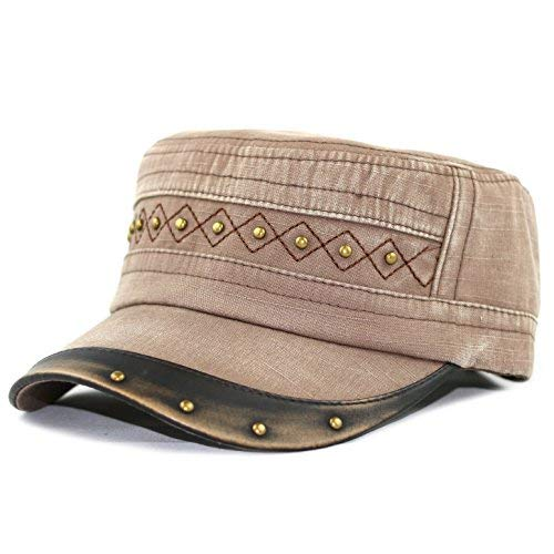 THE HAT DEPOT 200H5148 Cotton Leather Accent Cadet Hat with Metal Beads (Brown)