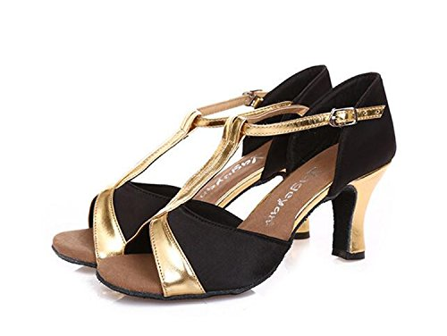 Dance Sandals Heeled Mid Comfy Party Wedding Toe Peep T Shoes Tango Strap Black Women n1wqqC0YP