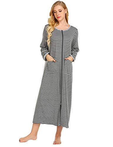 Ekouaer Womens Long Robe, Soft Zip-Front Bathrobe