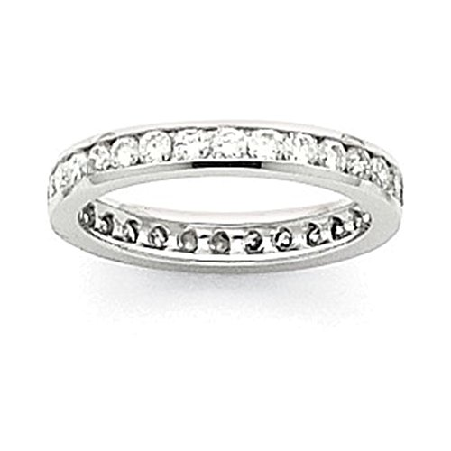 Jewelry Adviser Rings 14k White Gold 3mm Wide Size 6 Eternity Band Mounting Size 6 - Eternity Band Mounting