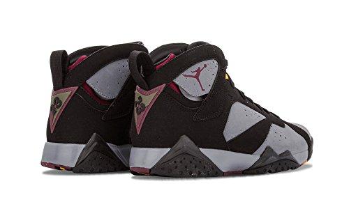 Nike Herren Air Jordan 7 Retro Leder Basketballschuhe Schwarz / Leicht Graphit-Bordeaux