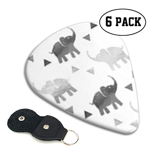 BLDBZQ Elephants Triangles Silver Celluloid Guitar Picks Premium Picks 6 Pack for Guitar,Mandolin,and Bass 0.46mm, 0.71mm, 0.96mm Optional with PU Leather Pick Holder