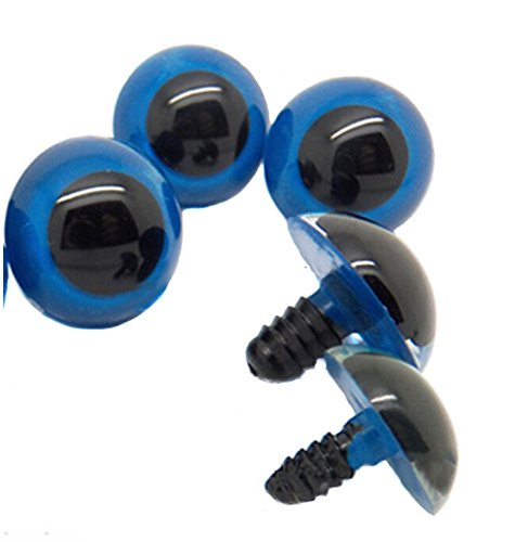 TOPWEL 50PCS Blue Plastic Safety Eyes for Sewing Crafting Buttons for Bear Doll of DIY (16mm) ()