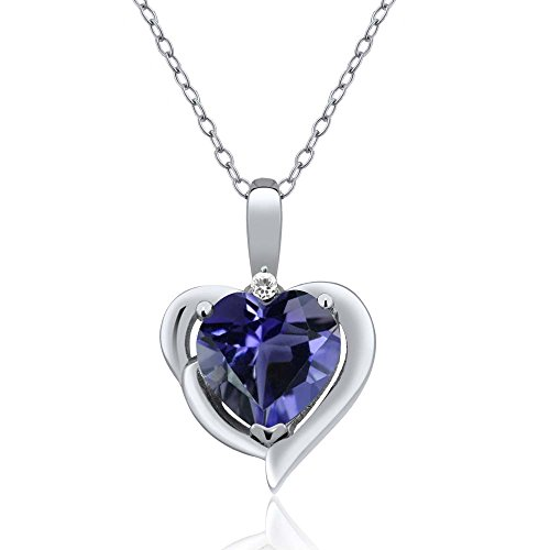 Gem Stone King 1.26 Ct Heart Shape Blue Iolite White Sapphire 925 Sterling Silver Pendant ()