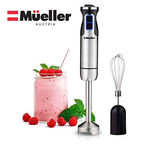 Mueller Austria Ultra-Stick 500 Watt 9-Speed Immersion Multi-Purpose Hand Blender Heavy Duty Copper Motor Brushed Stainless Steel Finish With Whisk Attachment, Silver (Copper Ultra Before)