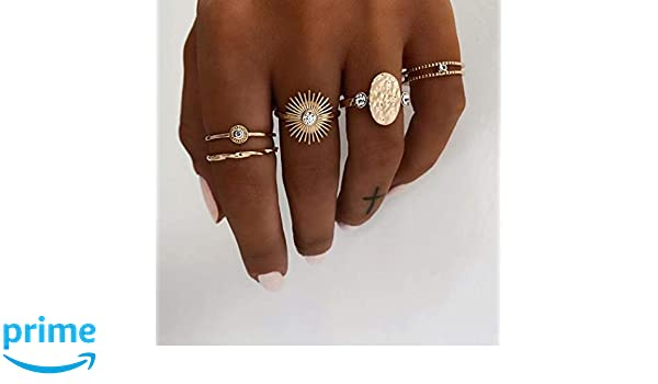 5Pcs Vintage Crystal Silver Star Flower Stackable Sparkly Rings Boho Jewelry sET