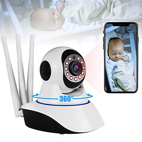 Video Baby Monitor with Camera and Audio,1080P Wifi Indoor Home Security Surveillance IP Cameras for Home Pet Dog Camera with Night Vision&2 Way Audio--(Youtube Set up Video)