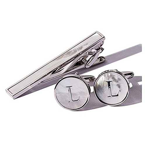 Digabi Platinum Plated 18K Rectangular Mother of Pearl Tie Clip and Initial Letter Cufflinks Set with Nice Box (Silver L)