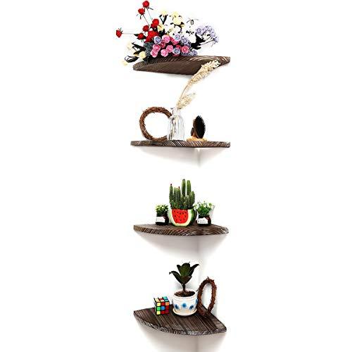 DOCMON Corner Shelf-Floating Shelves-Rustic Vintage Country Wood Floating Shelf for Bathroom Bedroom Living Room with Hardware (Brown, 4) ()