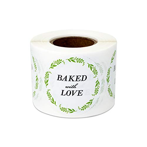 (300 Labels - Baked with Love Stickers for Handcrafted Bakeries Dessert Shop (1.5 Inch - 1 Roll))