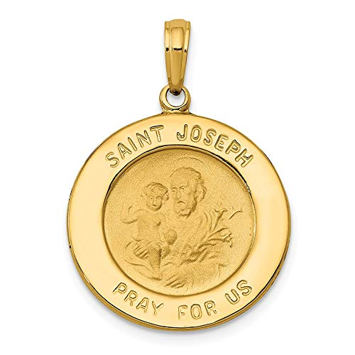 14k Yellow Gold Saint Joseph Medal Pendant Charm Necklace Religious Patron St Fine Jewelry Gifts For Women For ()