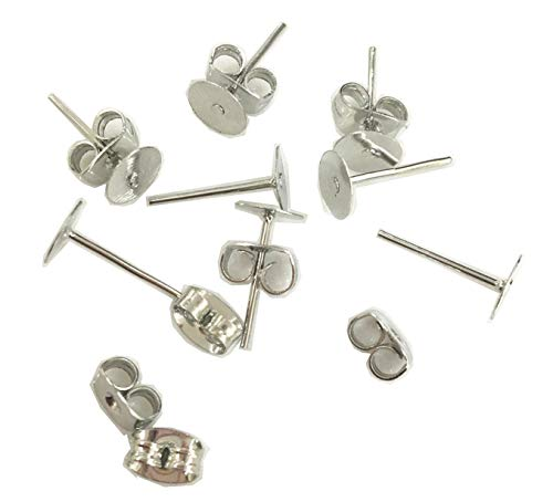 Steel Ear Posts Surgical (320 Pairs(640 Pieces) Crafts Stainless Steel Earrings Posts Flat Post Pad with Butterfly Findings Earring Backs for Earrings Making DIY Earrings Jewelry Making Studs Ring Post(Silver))