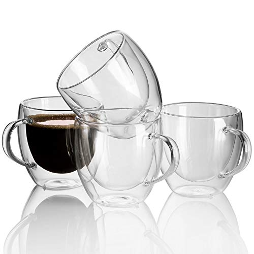 Double Wall Glass Coffee Mugs - Espresso Glasses Double Walled Tea Cup, Dishwasher. Microwave, freezer with NO RISK. (Set of 4)
