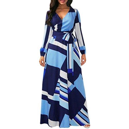 Scaling❤ Women Dress,Women Halter Neck Boho Print Sleeveless Casual Mini Beachwear Dress Sundress (Blue, S) by Scaling