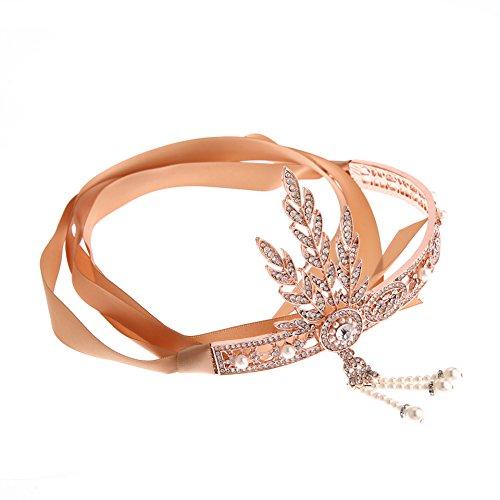 FOLLOWUS 1920's Great Gatsby Vintage Style Pearl Crown Charleston Bridal Headband (Rose - Alloy Store Apparel