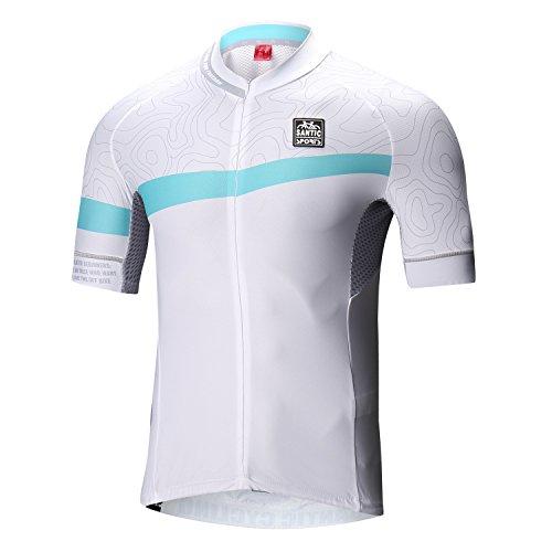 Santic Cycling Jersey Mens Shorts Sleeve Tops Bike Shirts Bicycle Jacket with Pockets Half Zip