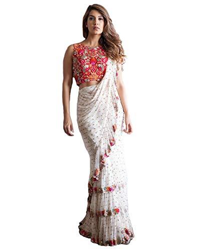 (Bridal Embroidery India Bollywood Designer Sari Indian Traditional Ethnic Sarees White)