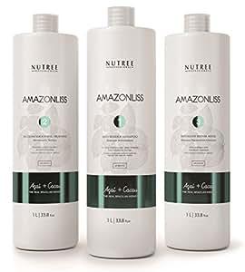 Amazonliss Brazilian Keratin Kit for Thermal Reconstruction 33oz/1L Blowout Shampoo, 33oz/1L Smoothing Treatment, 33oz/ 1L Mask