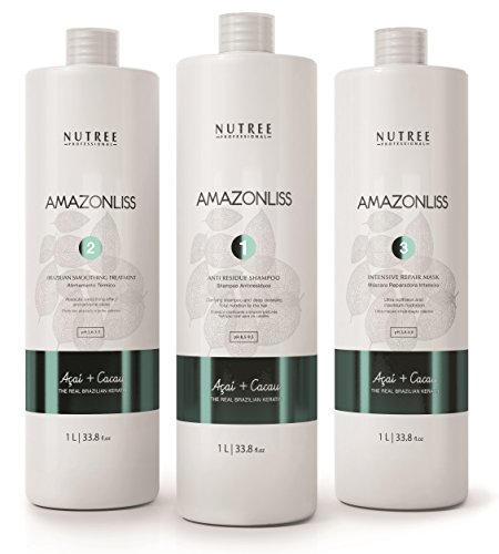 Amazonliss Keratin Smoothing Treatment Hair Straightening Set 33.8 fl.oz - Natural Ingredients - Smooths, Strengthens, Softens, Moisturizers, Adds Shine, Reduces Frizz - Up To 20 Applications
