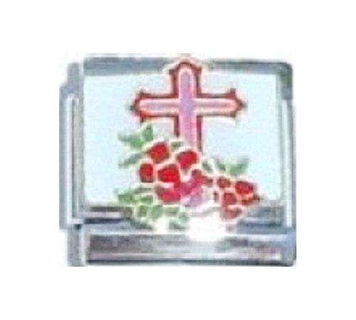 Enamel Italian Charm Cross - Stylysh Charms Cross Flowers Religious Enamel Italian 9mm Link RE080