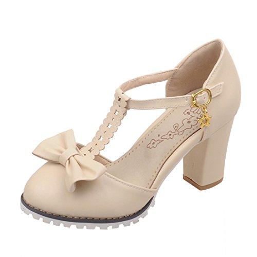 YE Damen T Strap Pumps Blockabsatz High Heels Plateau mit Knöchelriemchen und Schleife 8cm Absatz Süß Schuhe Beige