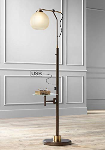 Jobe Modern Industrial Floor Lamp with Table Glass USB Charging Port Oiled Bronze Tea Glass Shade for Living Room - Franklin Iron Works