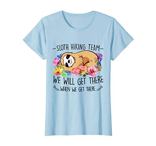 Sloth hiking team Tshirt gift for woman flower Funny