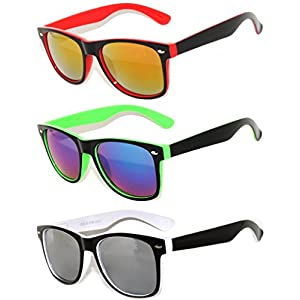 3 Pack Classic Retro Vintage Two -Tone Colorful Mirror Lens Sunglasses OWL.