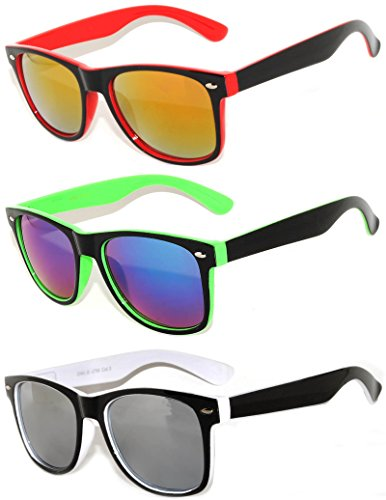 3 Pack Classic Retro Vintage Two -Tone Colorful Mirror Lens Sunglasses - 3 Pack Sunglasses