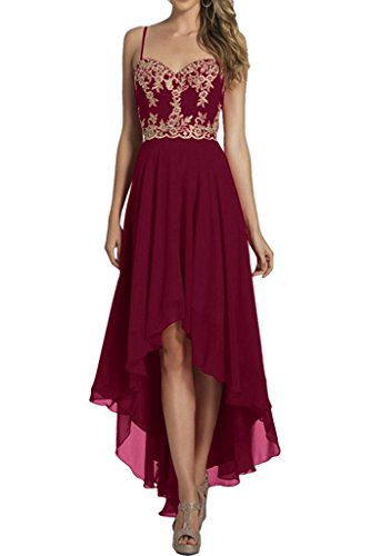 Wadenlang Burgundy A Kurz Ballkleider Abendkleider lo Brautjungfernkleider Chiffon La Marie Linie Elegant Braut Hi zqw7PIO