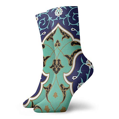 Arabic Floral Print Mens Dress Socks Fashionable Short Hiking Gym Training Socks 11.8'