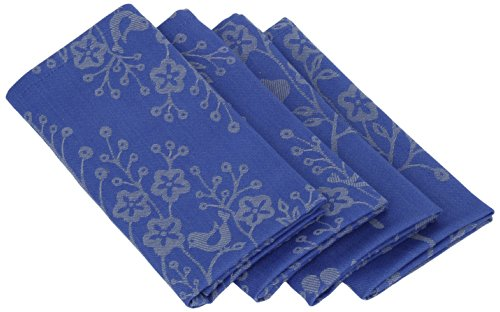 Mahogany T417NP Square Tree of Life Jacquard Napkin, 19 by 19-Inch, Denim/Grey, Set of 4 - Denim Napkins