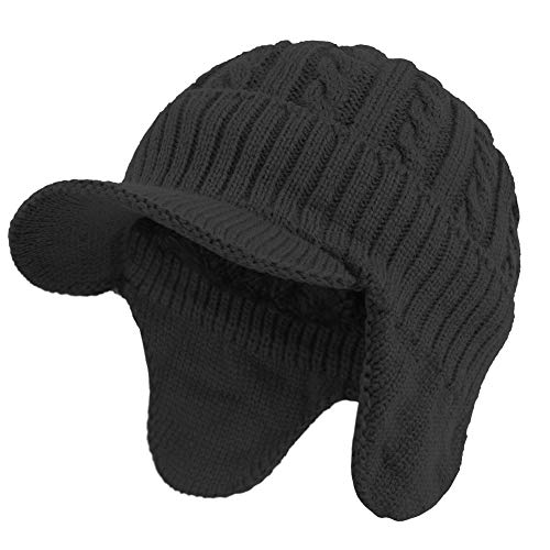 Janey&Rubbins Daily Knit Visor Brim Beanie Hat with Earflaps Fleece Lined Skull Ski Cap (Black with Earflaps)