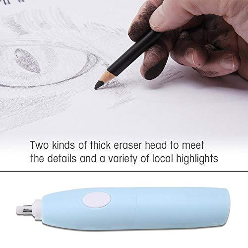 Garosa Electric Eraser Kit Portable Battery Operated Pencil Eraser with 16 Eraser Refills for Artists Students(Blue) by Garosa (Image #2)