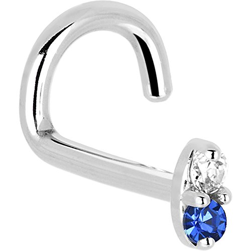 Body Candy Solid 14k White Gold 1.5mm Genuine Blue Sapphire Diamond Marquise Left Nose Stud Screw 18 Gauge ()