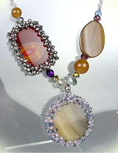 Exquisite Brown Gray Marble Agate Chalcedony Labradorite Czech Necklace Set For Women