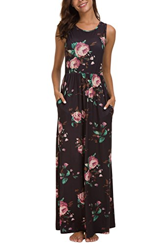 - Zattcas Maxi Dresses for Women,Womens Crew Neck Sleeveless Summer Floral Maxi Dress with Pockets (X-Large, Black Purple Rose)
