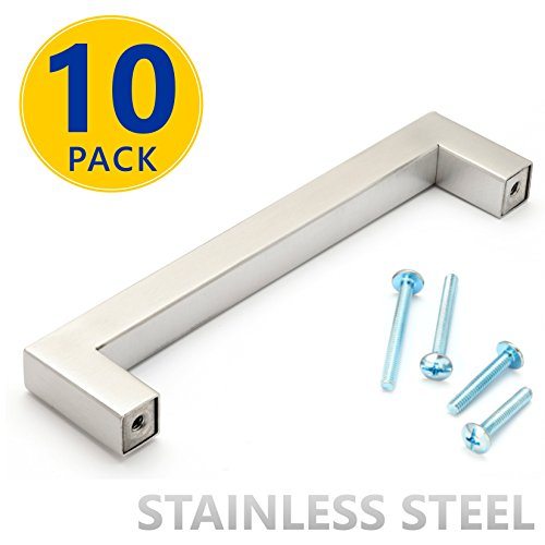 10 Pack | Stainless Steel Square Bar Cabinet Pulls: 5 Inch Hole Spacing | Modern Brushed Satin Nickel Finish Kitchen Cabinet Hardware / Dresser Drawer (Square Bar Pull)