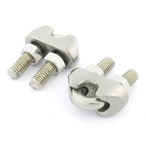 5mm Stainless Steel Cable Clip Cable Silver Tone 2 Pieces