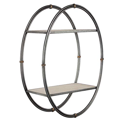 American Art Décor Wood and Metal Hanging Oval Wall Shelf and Rack - Farmhouse Décor