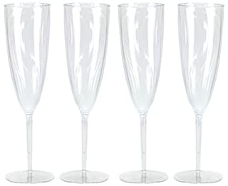 Hard Plastic 1-Piece Champagne Flute, 6-Ounce Capacity, Clear Plastic Champagne Glasses 8 Count (B01179OFBM) | Amazon price tracker / tracking, Amazon price history charts, Amazon price watches, Amazon price drop alerts